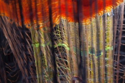 """photo of a woven artwork from Dawn Ertl's exhibition """"Radius of Action"""""""