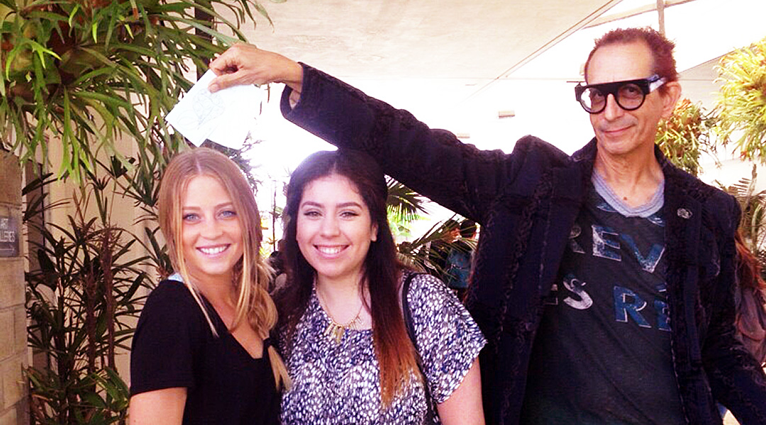 Madison Vanden Berg, Nallely Silva & Glenn Zucman posing in the CSULB School of Art, Art Gallery Courtyard