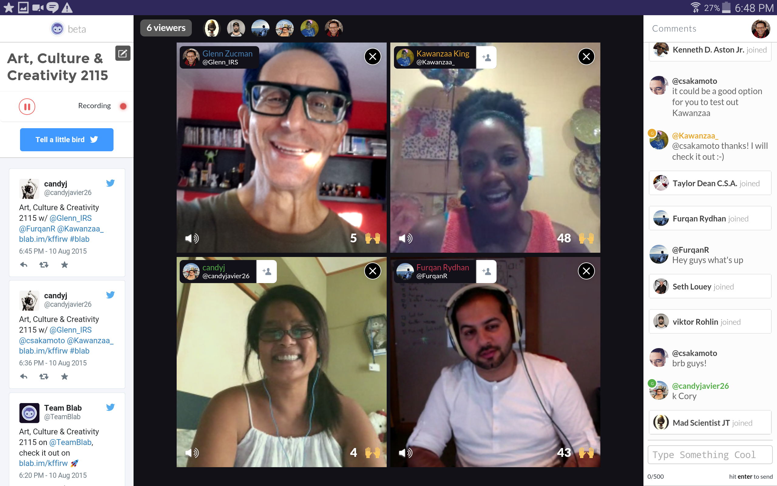 Screen cap of a Blab broadcast in a Chrome browser window.