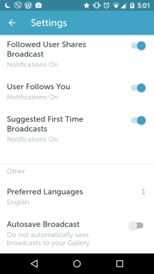 """screen cap of Periscope settings including the """"autosave broadcast"""" button"""