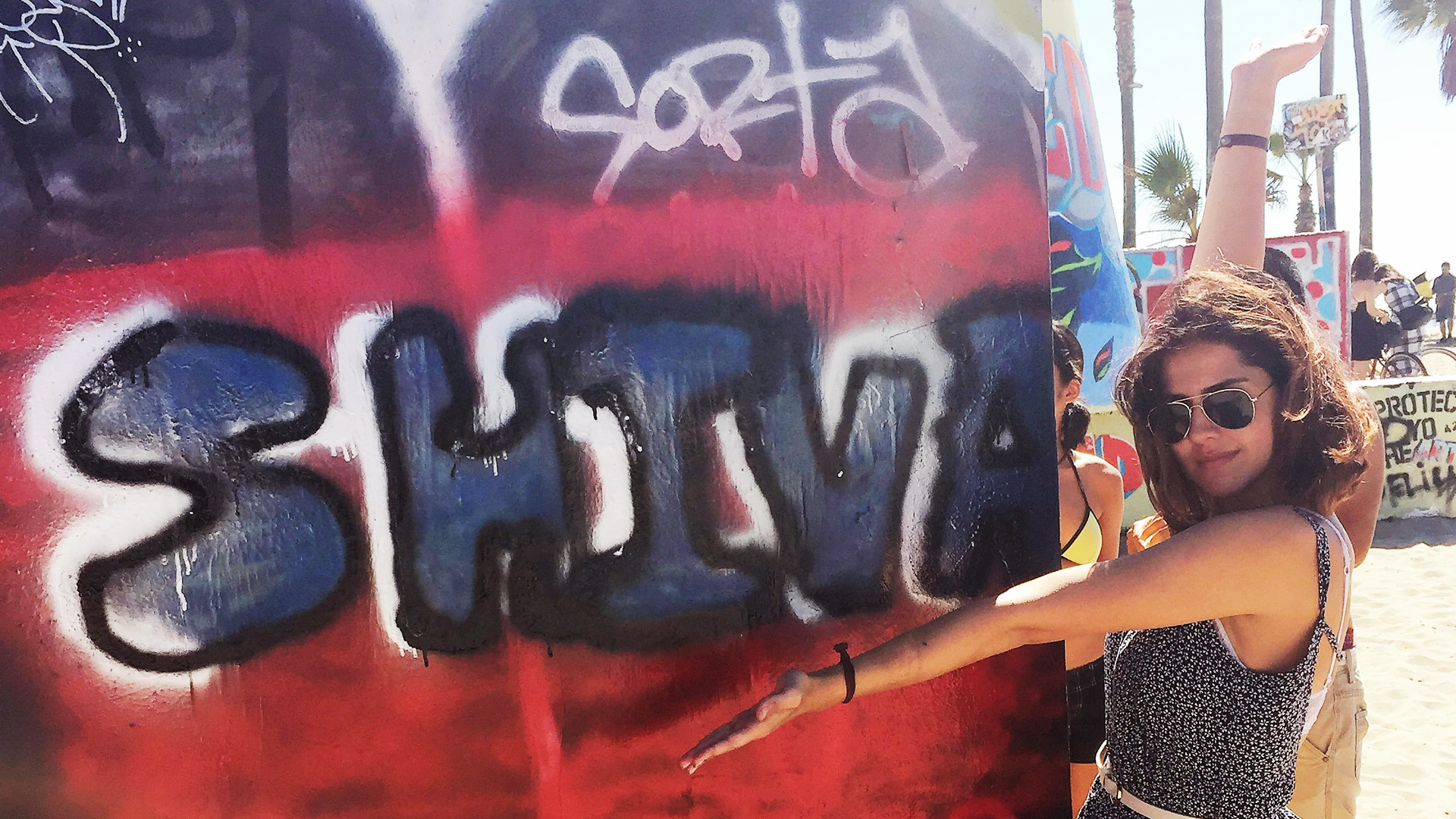 Shiva Nadjm, Art110 Fall '15, with her name in bubble letters at the Venice Beach Legal Art Walls
