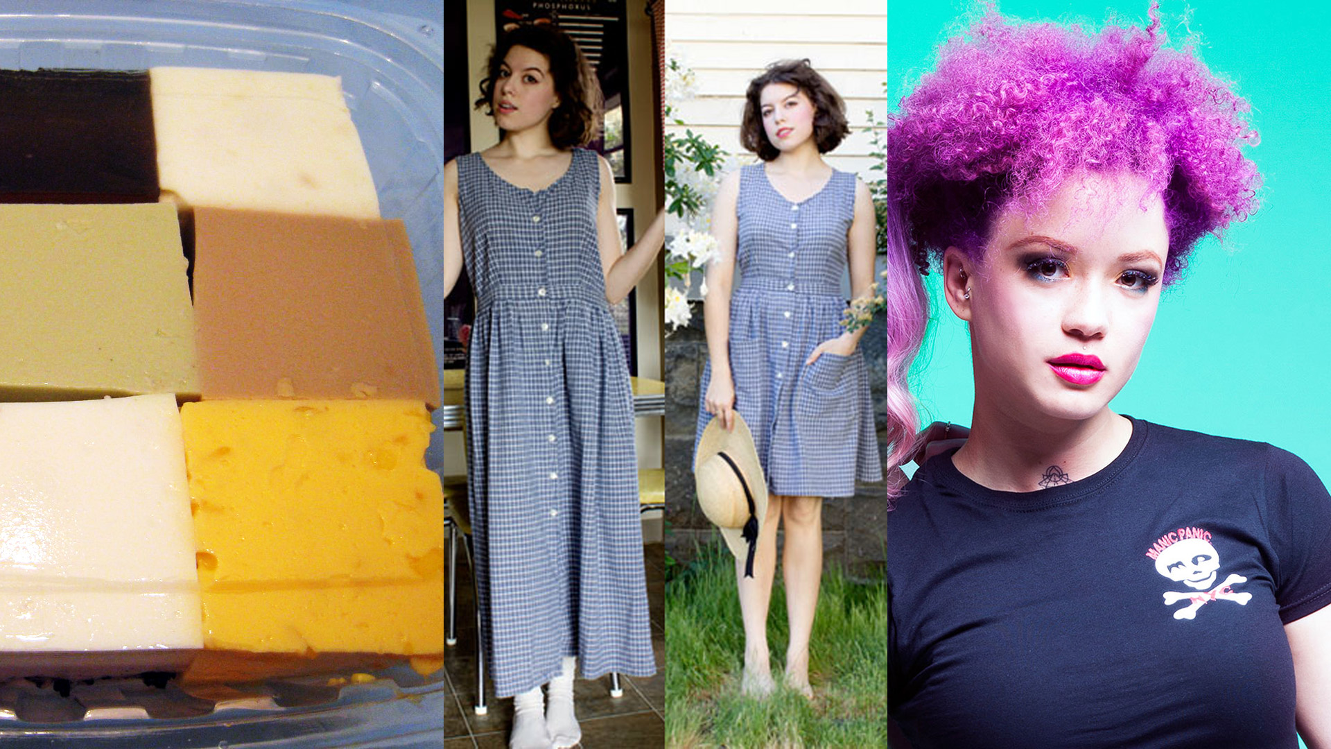 triptych of cubes of food, dress makeover, and fashion hair color
