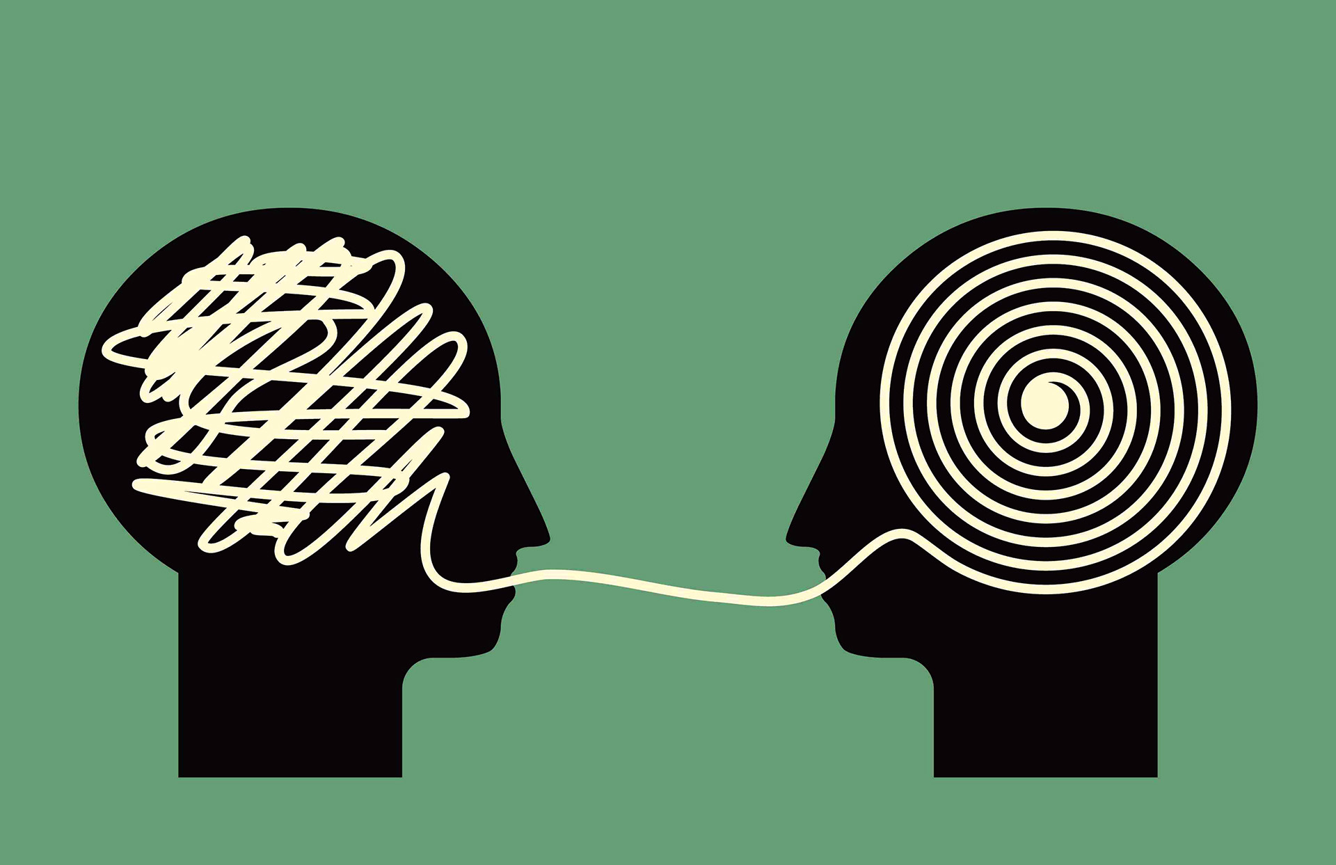 """two """"heads"""" with a spaghetti sort of line flowing between their brains"""